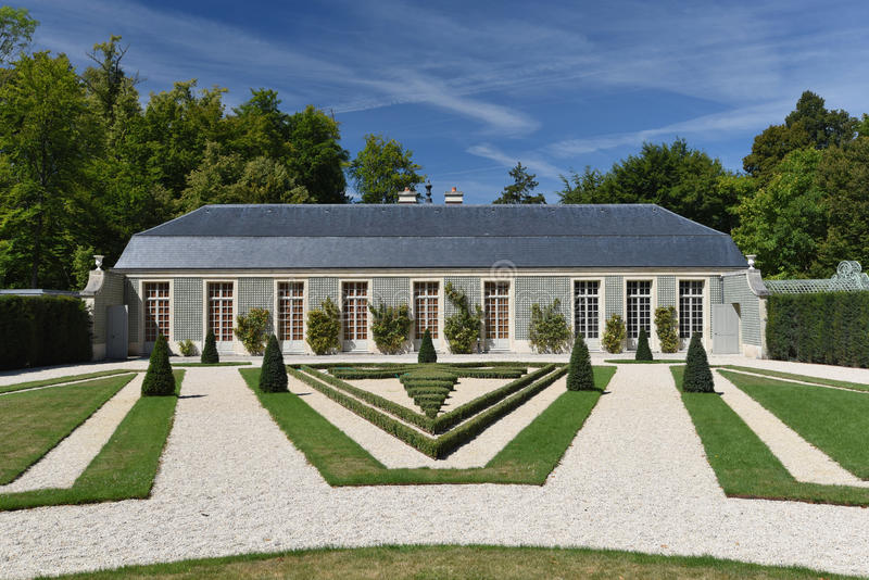 French formal garden in the Chateau de Chantilly royalty free stock image