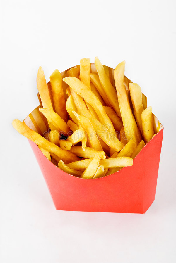 French fries. From a fast food restaurant shot from the top and isolated on a white background royalty free stock photography