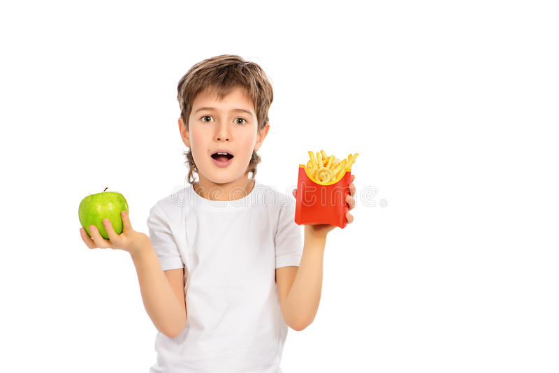 French fries and apple stock image