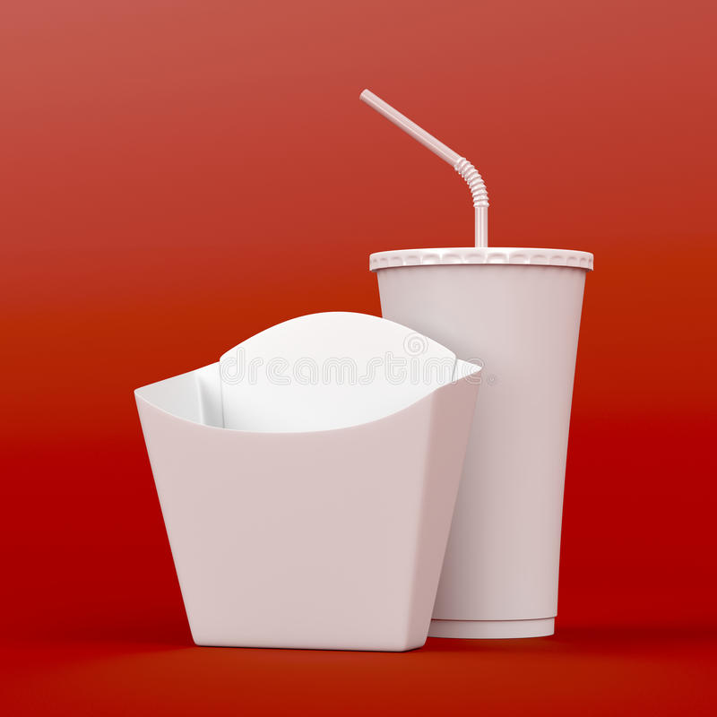 French fries box and soda stock illustration