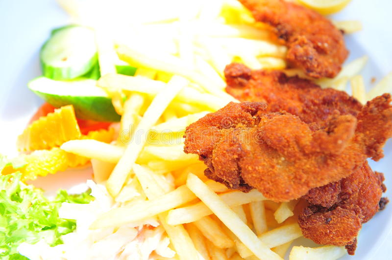 Download French Fries And Chicken Stock Photo - Image: 15507680