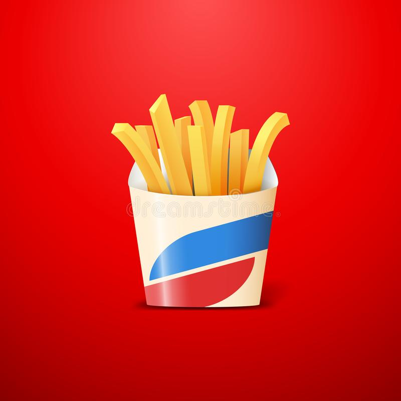 French fries or crisps made of fried potato in carton box on red background vector illustration