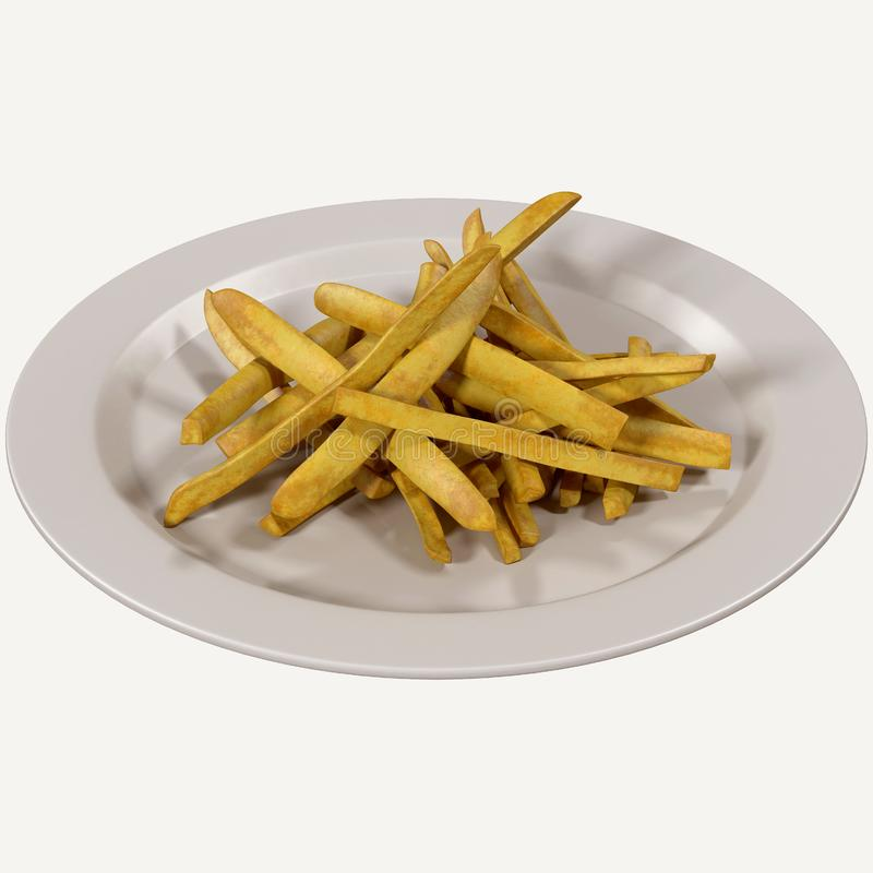 French fries 3d rendering, stock illustration