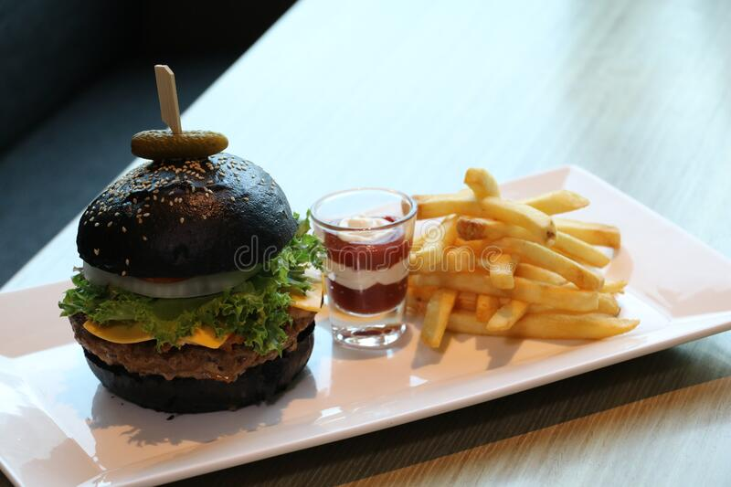 French Fries With Dip On Shot Glass And Black Buns Burger Platter Free Public Domain Cc0 Image