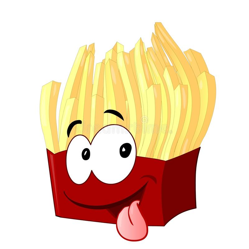 French fries face. French fries with cartoon face vector illustration
