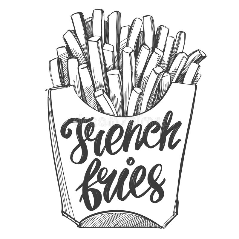 French fries , fastfood, logo, and drawn vector illustration realistic sketch. French fries , fastfood, logo hand drawn vector illustration realistic sketch stock illustration