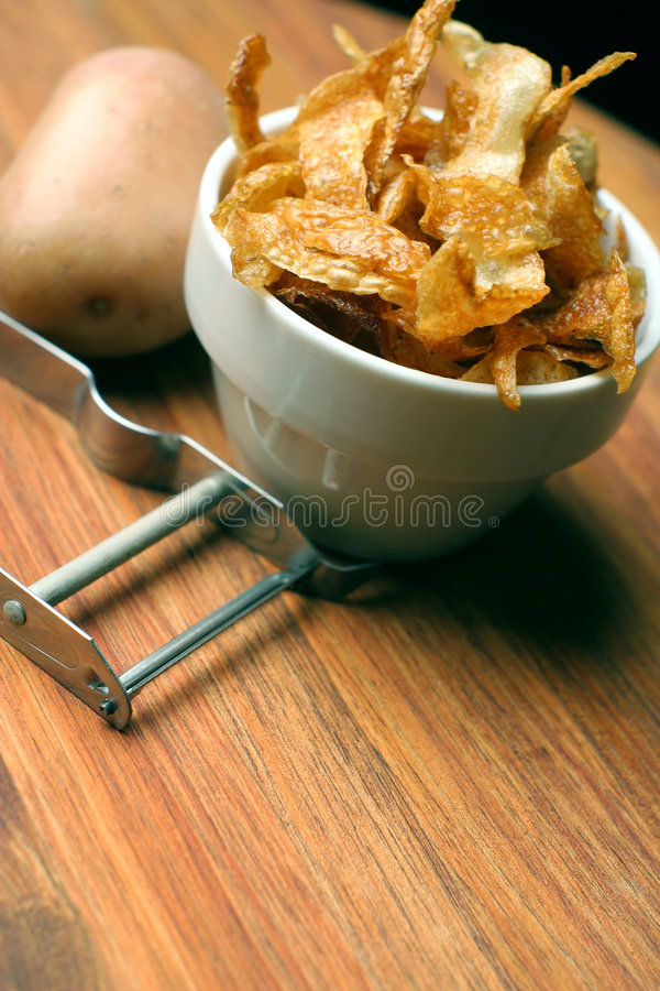 French fries; home-made, angled view royalty free stock image