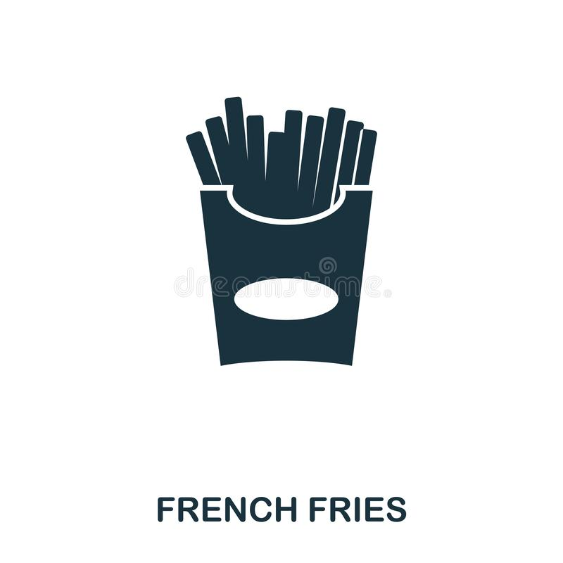 French Fries icon. Mobile apps, printing and more usage. Simple element sing. Monochrome French Fries icon illustration. French Fries icon. Mobile apps royalty free illustration