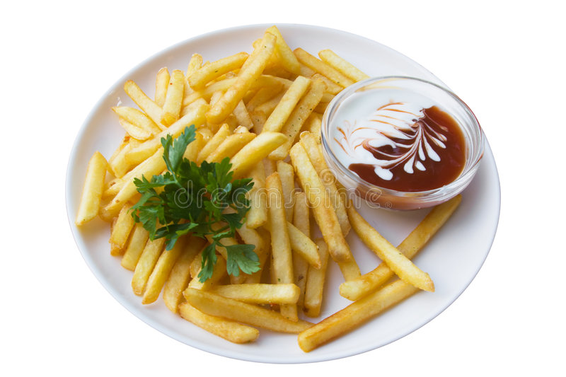 French fries, isolated royalty free stock photo