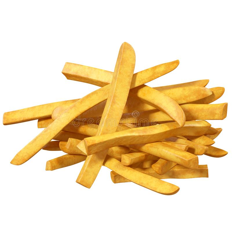 French fries, isolated, royalty free illustration
