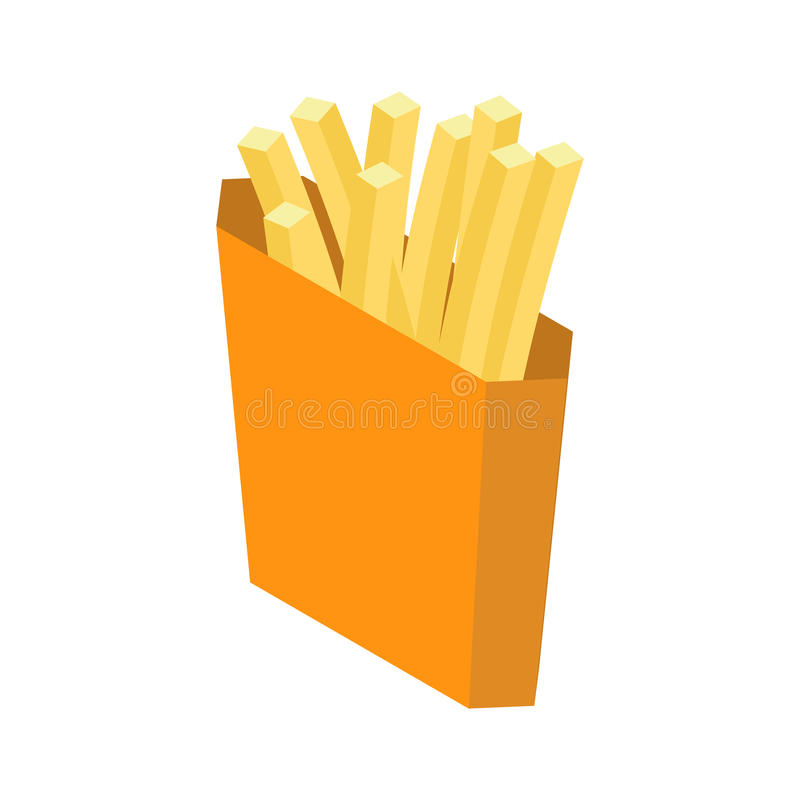 French fries isolated. Paper box for fast food on white vector illustration