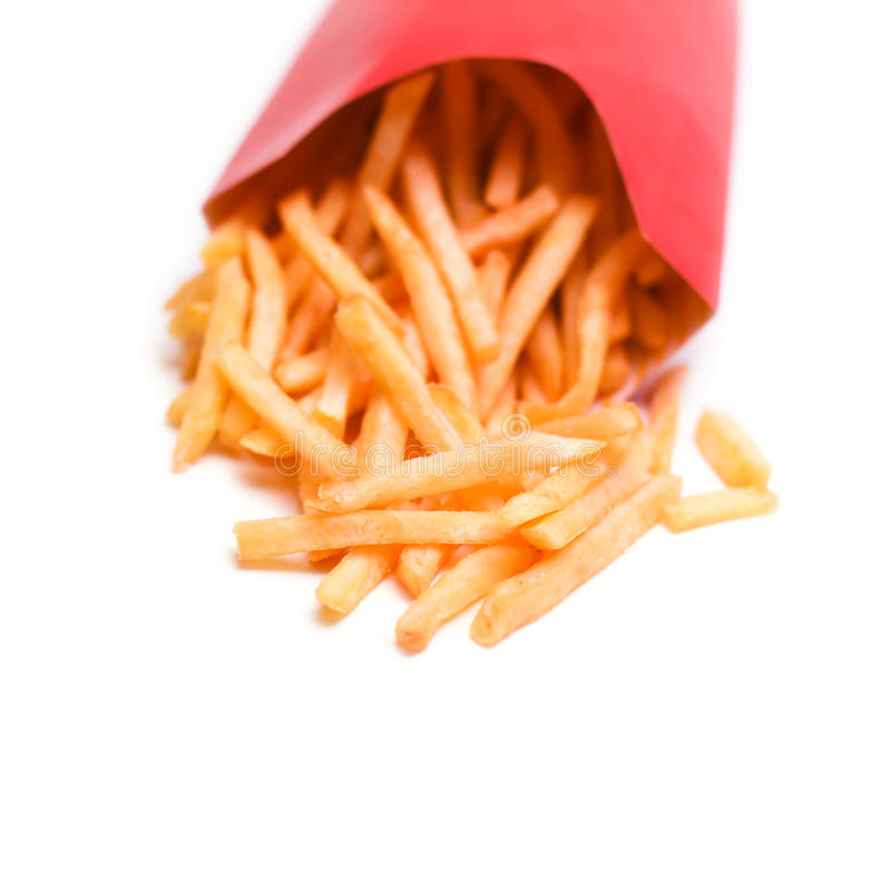 French Fries Isolated on a White Background royalty free stock photography