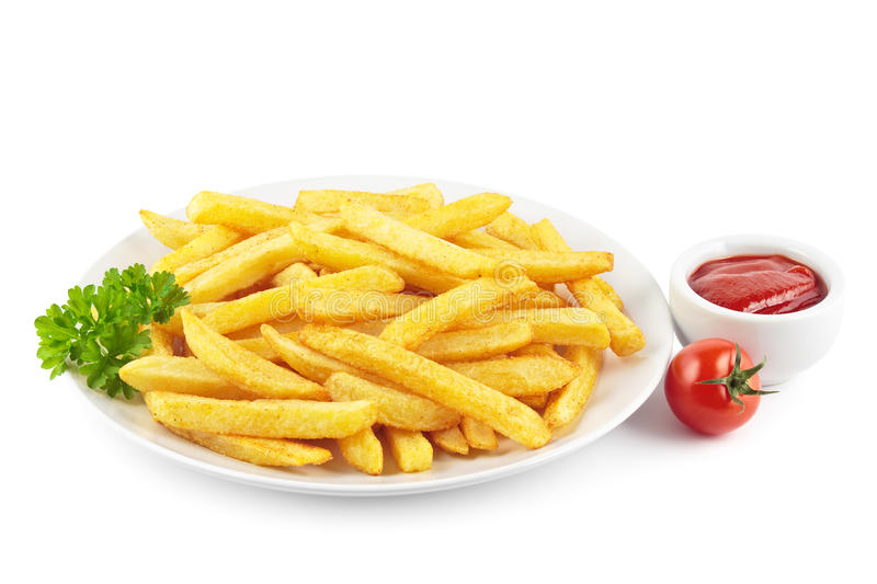 French fries with ketchup stock photography