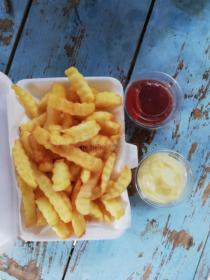 French fries with ketchup stock image