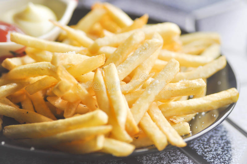 Download French Fries With Ketchup And Mayonnaise Stock Photo - Image: 83705764