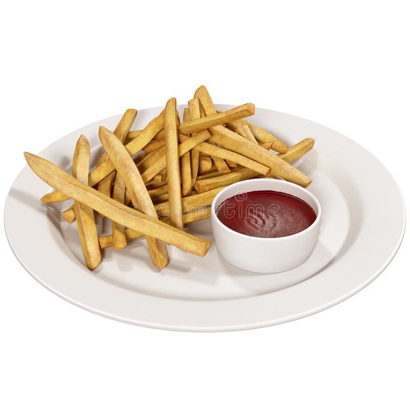 French fries with ketchup on white royalty free illustration