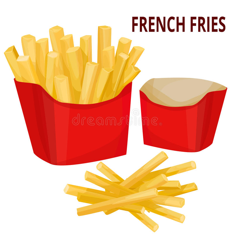 French fries, packaging stock illustration