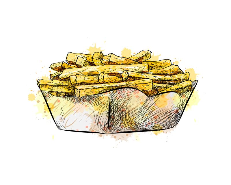 French fries in the paper basket royalty free illustration