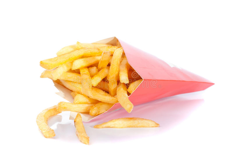 French fries in paper box royalty free stock photos