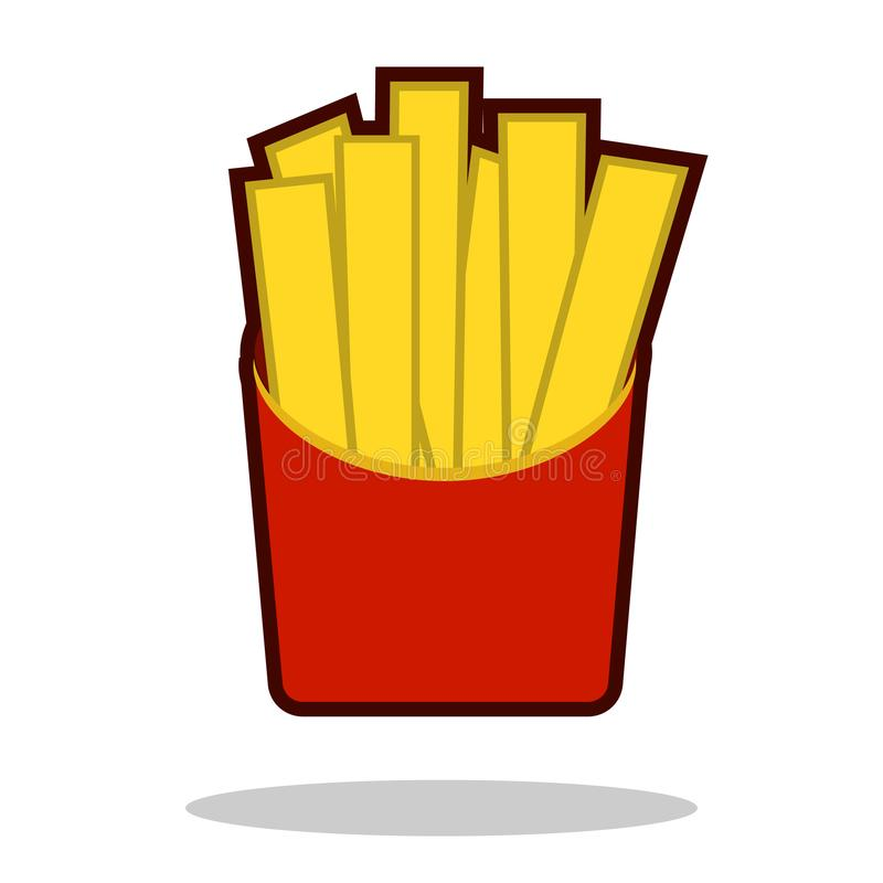 French fries in paper box, isolated icon. Fast food concept. Vector illustration vector illustration