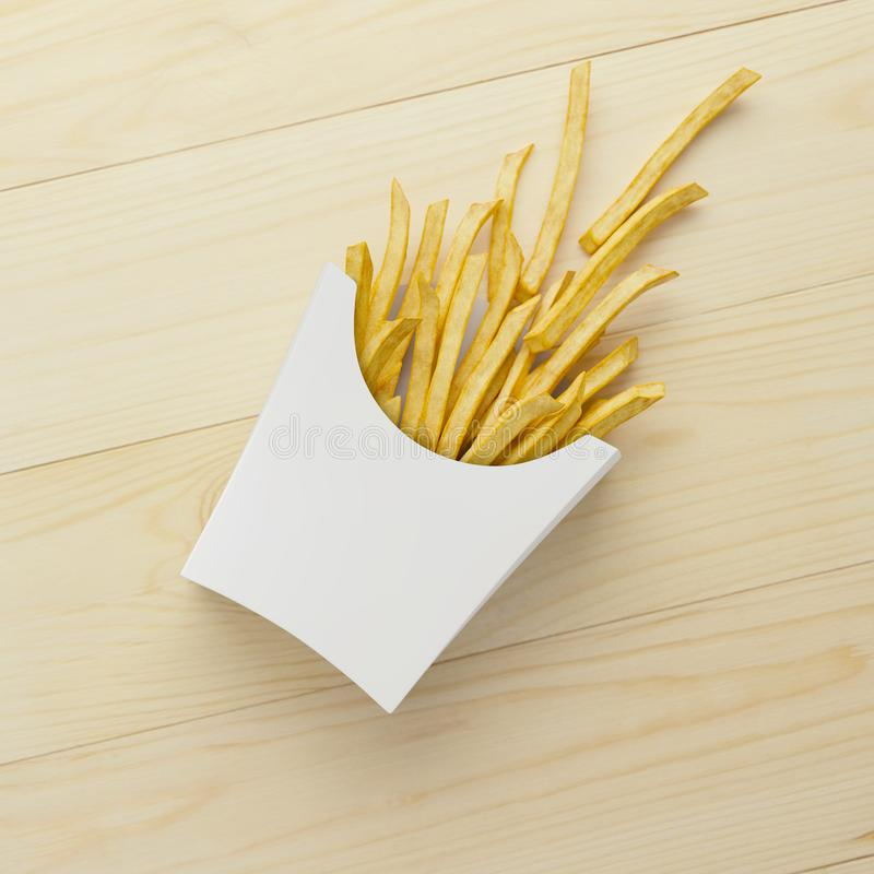 French Fries in paper packaging royalty free illustration