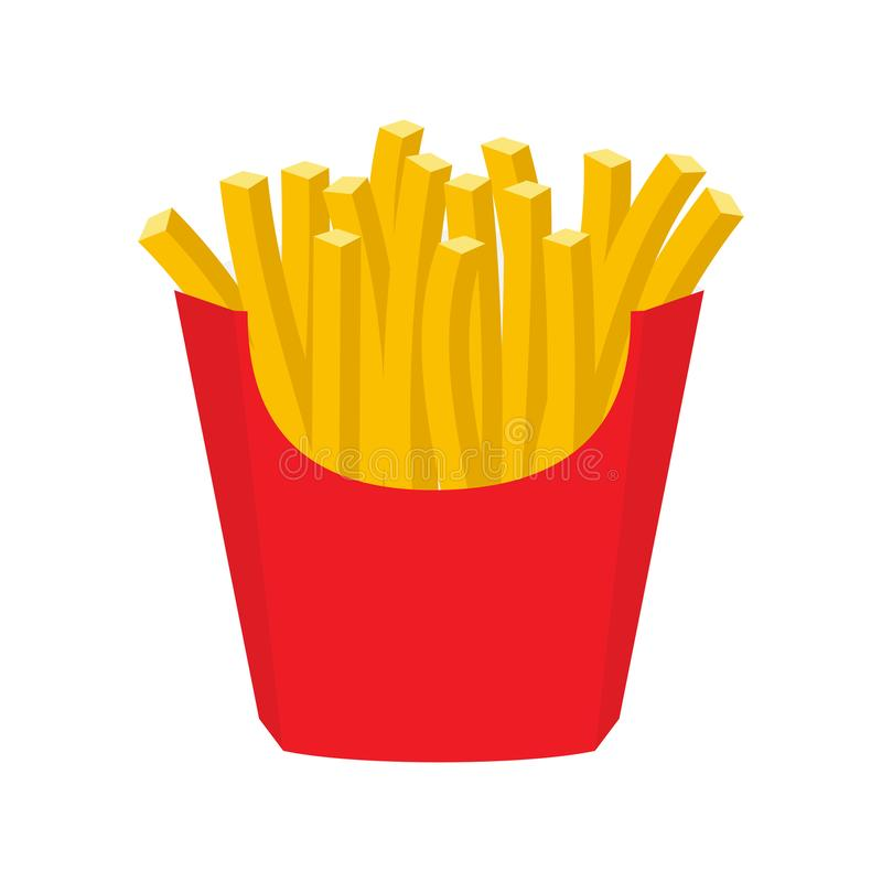 French fries in paper red box, icon stock illustration