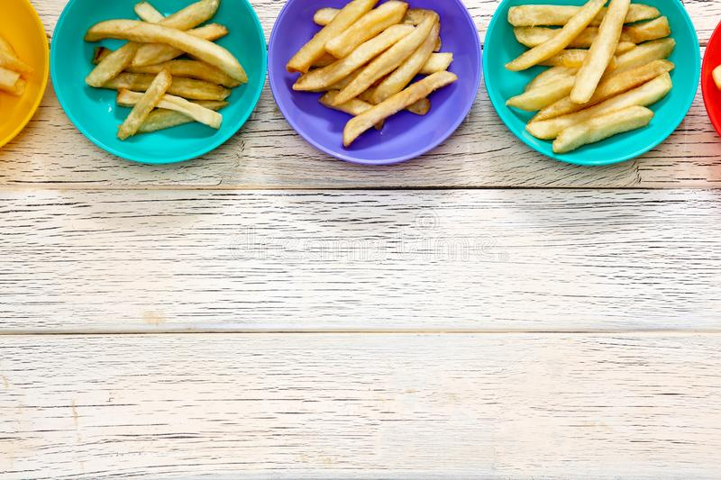 French fries on the plastic plate stock photos