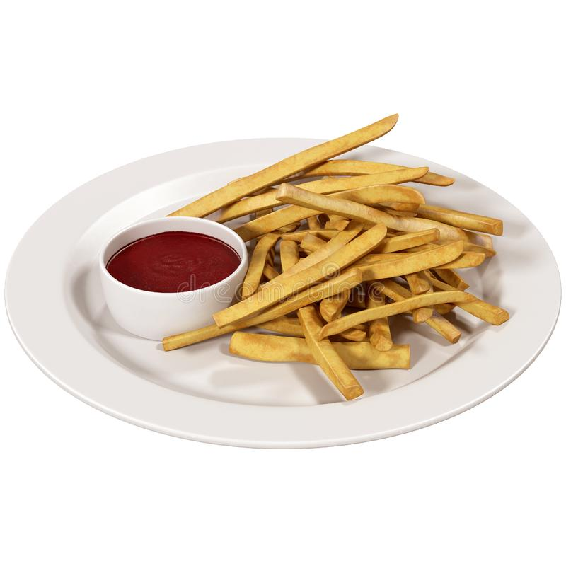 French fries on a plate with sauce stock illustration