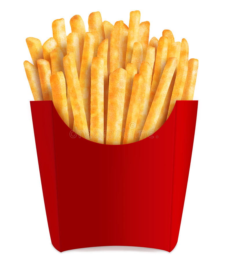 French fries in popular red box stock illustration