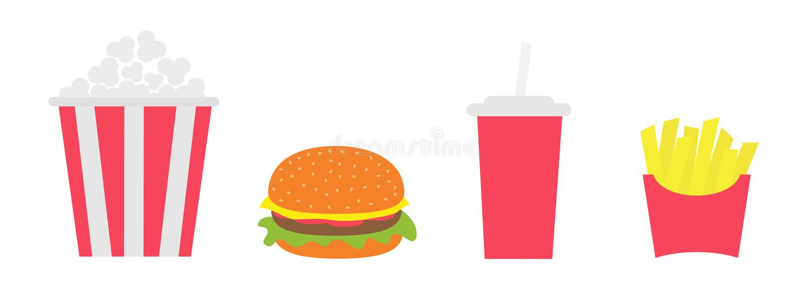 French fries potato in a paper wrapper box. Popcorn. Burger. Soda drink glass with straw. Fried potatoes. Icon set. Movie Cinema i. Con set. Fast food menu. Flat stock illustration