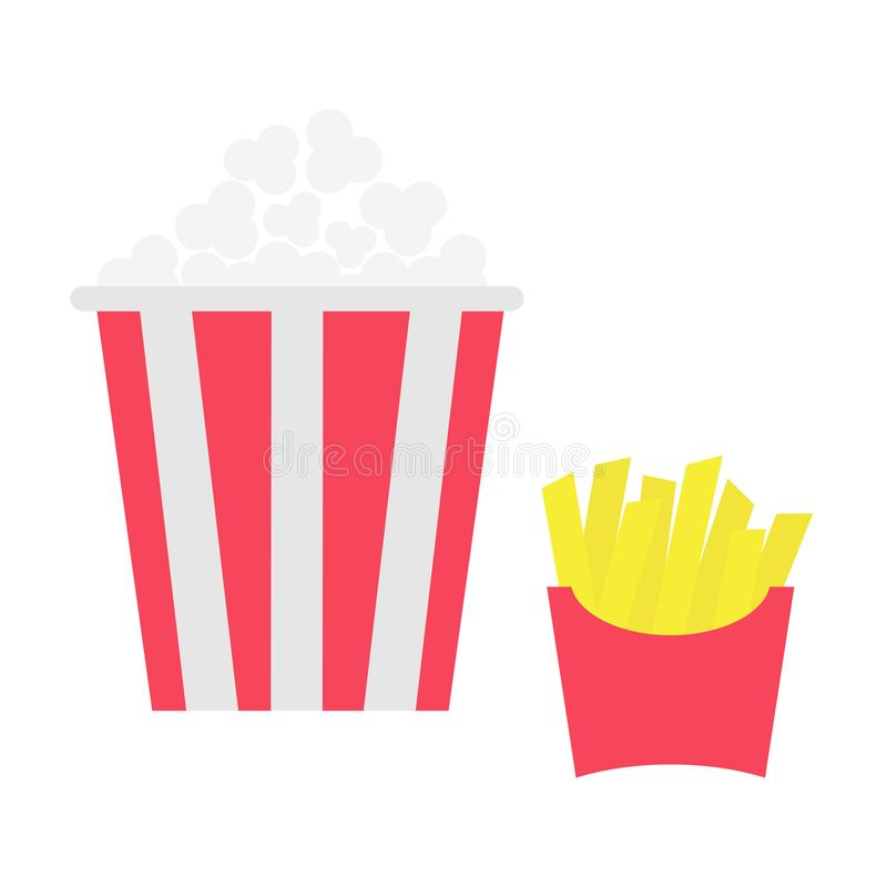French fries potato in a paper wrapper box. Popcorn. Fried potatoes. Movie Cinema icon set. Fast food menu. Flat design. White bac royalty free illustration