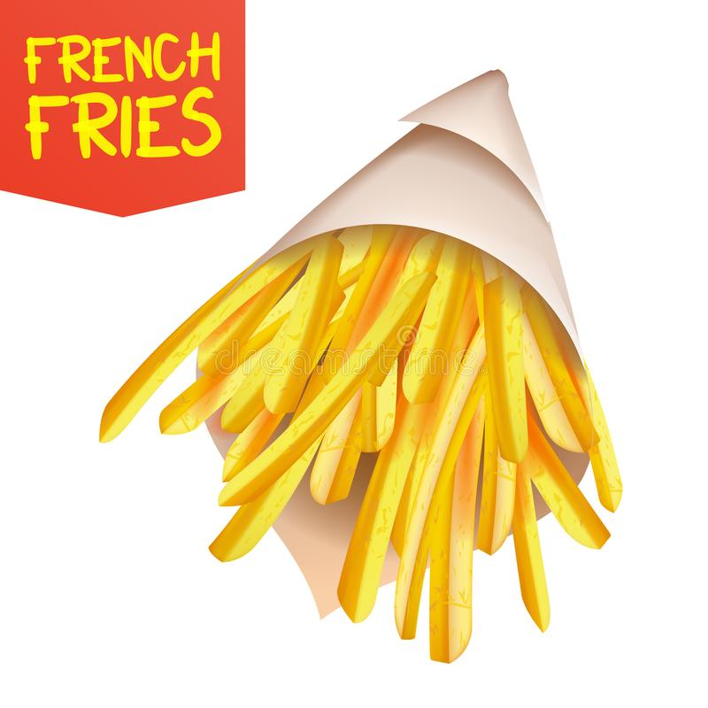 French Fries Potatoes Vector. Paper Bag Container. Tasty Fast Food Potato. Isolated Realistic Illustration royalty free illustration