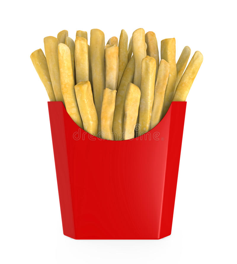 French Fries in Red Box vector illustration
