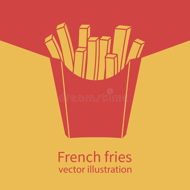 French fries in red box royalty free illustration