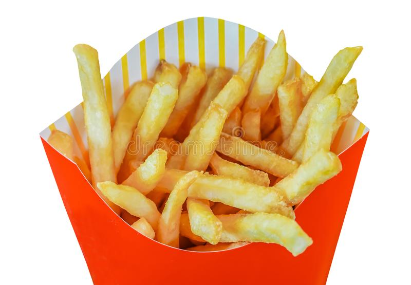 French fries in a red carton box  isolated on a white background with Include clipping path. A french fries in a red carton box  isolated on a white background royalty free stock photography