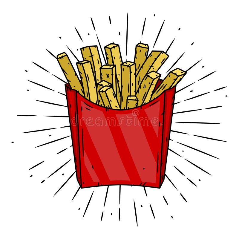 French fries in red paper box and divergent rays. Used for poster, banner, web, t-shirt print, bag print, badges, flyer vector illustration