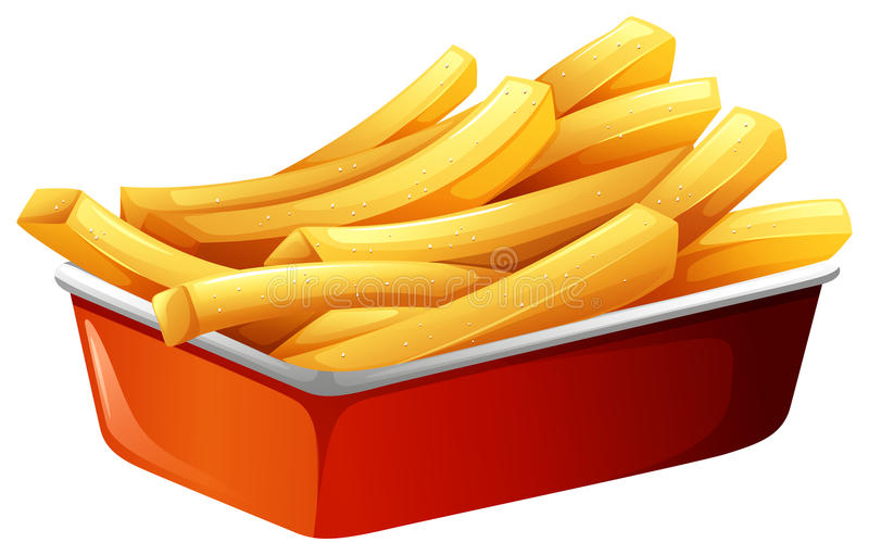 French fries in red tray stock illustration