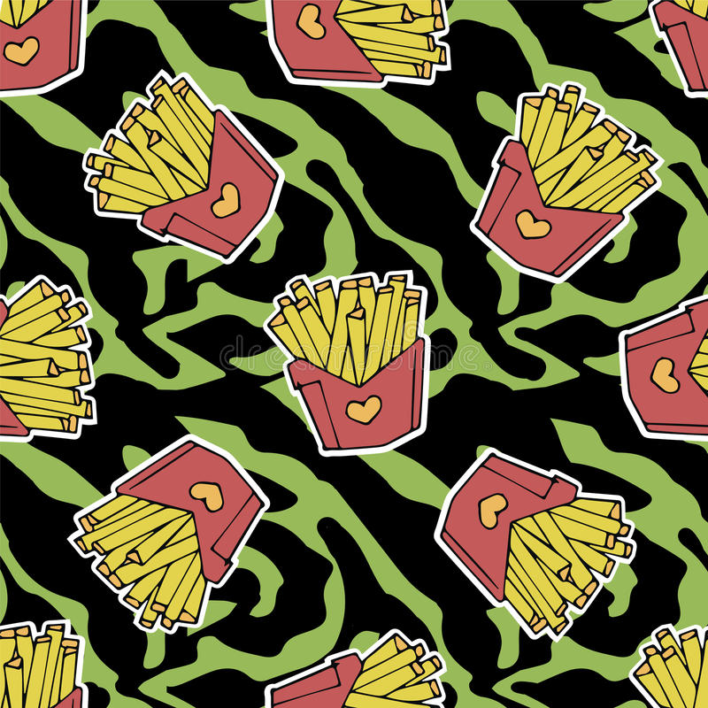 French fries seamless pattern vector illustration