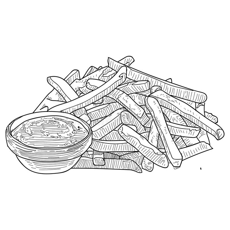 French Fries sketch, hand drawn fast food vector illustration. French fries in the package and in bulk. royalty free illustration