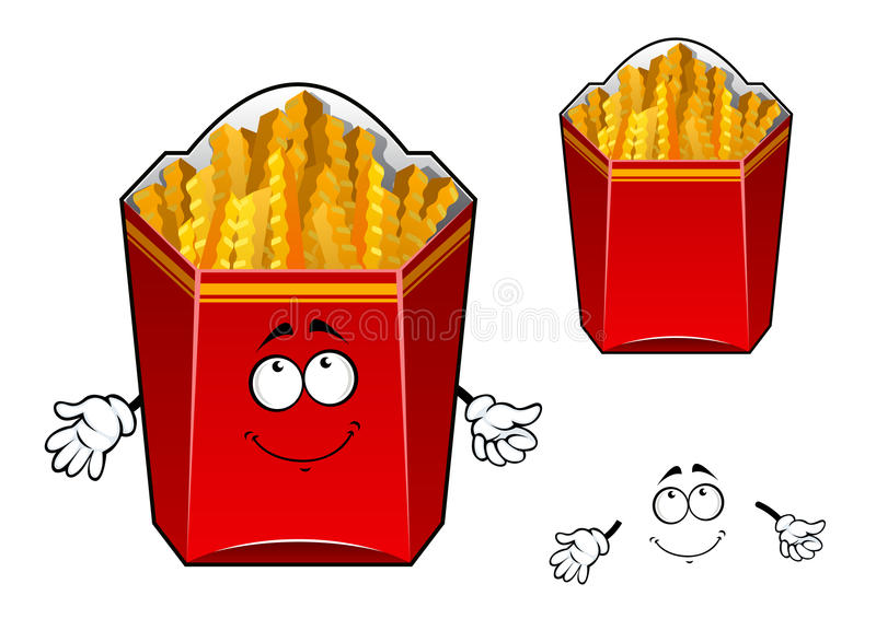 French fries wavy slices cartoon character vector illustration