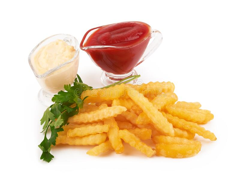 French fries on white stock photos