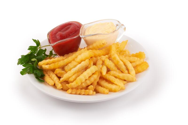 French fries on white stock photo