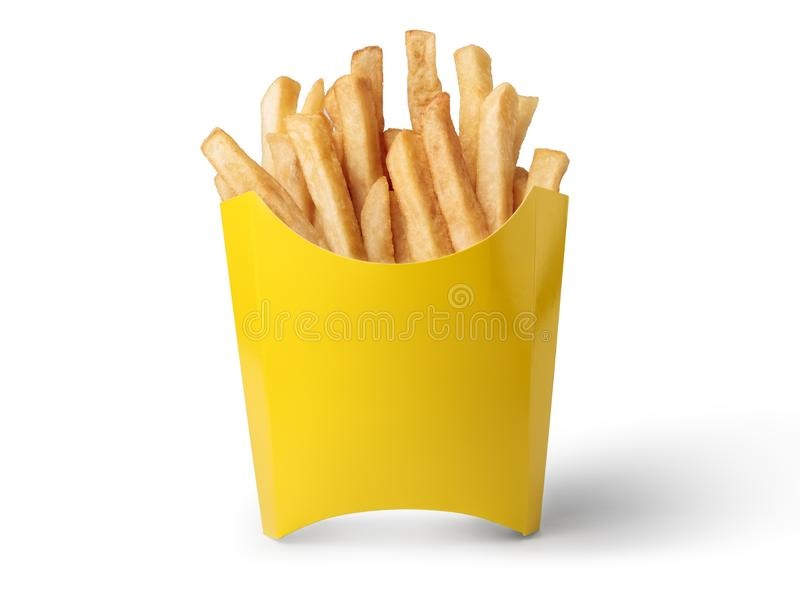 French fries in a yellow box. Isolated on white background royalty free stock photography