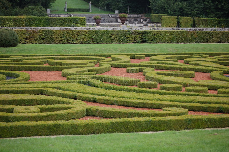 French garden. A french manner garden by Lenotre, the ancient gardener of Louis XIV royalty free stock image