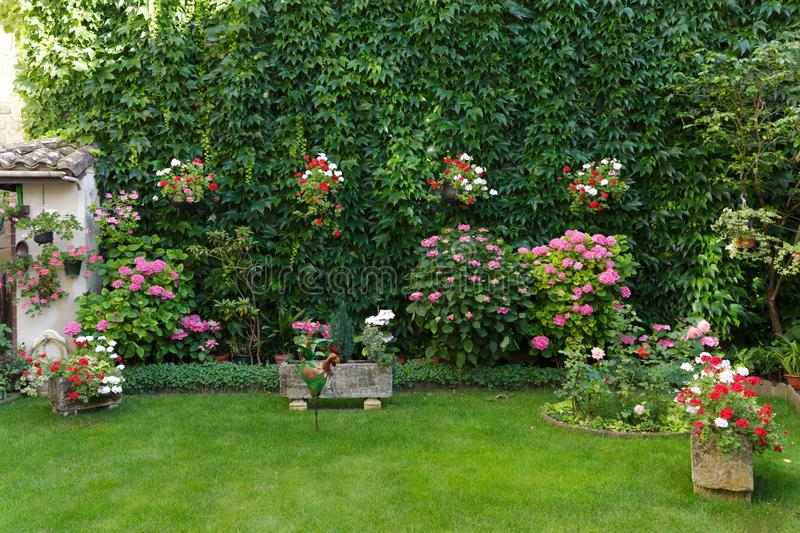 French garden in old town stock image. Image of pink - 73643083