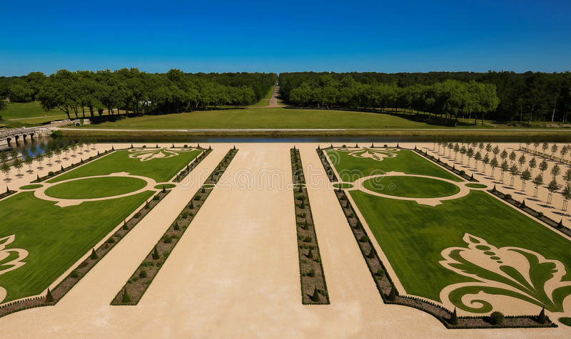 The French Gardens of Chambord castle, France. royalty free stock photography