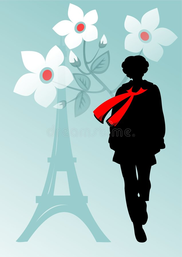 Download French girl in a scarf stock illustration. Image of freshness - 2319936