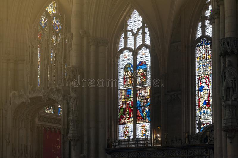 French glass, medieval stained glass from 16th century inside cathedral of York Minster in City of York, England, UK. York, England - April 2018: French glass royalty free stock image