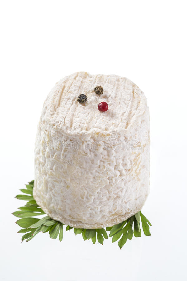 french goats cheeses on white background stock photos