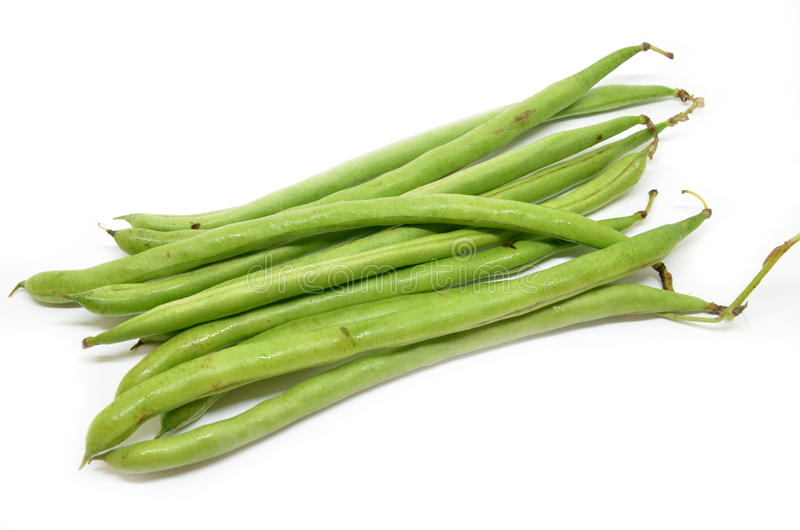 French green bean. String isolated on white background royalty free stock image